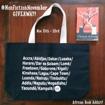 Book + African City tote bag giveaway #2. Winner was announced late November; Third book (Sweet Medicine by Panashe Chigumadzi) winner was announced the same day.