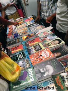 An array of books displayed after a reading, hosted by Writers Project Ghana at the Goethe Institute.