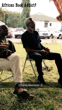 Chuma Nwokolo and member of CACE at the Storymoja Festival in Accra.